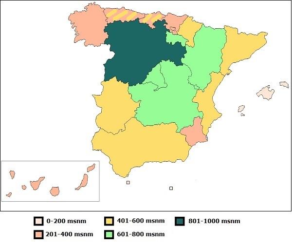 altitud media de las Comunidades Autónomas españolas